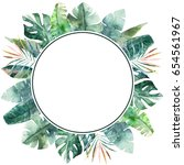 watercolor wreath with tropical ... | Shutterstock . vector #654561967