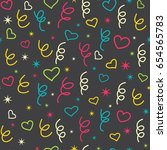 seamless pattern with doodle... | Shutterstock .eps vector #654565783