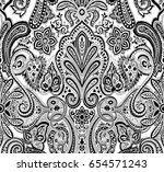 black and white paisley pattern | Shutterstock .eps vector #654571243