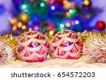 christmas balls. christmas... | Shutterstock . vector #654572203