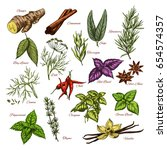 herbs and spices sketch icons... | Shutterstock .eps vector #654574357