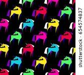unicorn silhouette seamless... | Shutterstock .eps vector #654574837