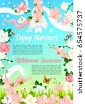 welcome summer quotes on poster ...   Shutterstock .eps vector #654575737