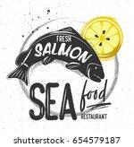 chalk sketched black fish... | Shutterstock .eps vector #654579187