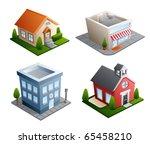 set of 4 building illustrations ... | Shutterstock . vector #65458210
