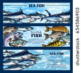 fresh fish seafood restaurant... | Shutterstock .eps vector #654586903