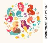 mermaid girls vector... | Shutterstock .eps vector #654591787