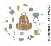 hand drawn camping icons set....