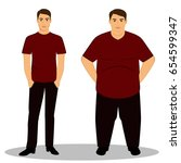thin and fat. obesity. from... | Shutterstock .eps vector #654599347