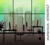 office interior window showing... | Shutterstock . vector #654605017