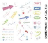 arrow  hand drawn icons  ... | Shutterstock .eps vector #654607513