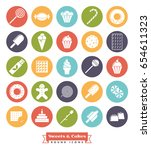sweets and cakes round icon set.... | Shutterstock .eps vector #654611323