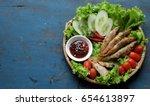 vietnamese food for family meal ... | Shutterstock . vector #654613897