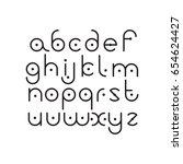elegant line orbed font. circle ... | Shutterstock .eps vector #654624427