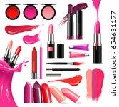 lip makeup beauty accessoires... | Shutterstock .eps vector #654631177