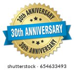 30th anniversary round isolated ... | Shutterstock .eps vector #654633493