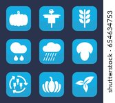 autumn icon. set of 9 filled... | Shutterstock .eps vector #654634753