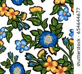 seamless pattern of floral... | Shutterstock .eps vector #654644677