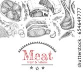 background with different meat... | Shutterstock .eps vector #654649777