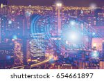 double exposure of cityscape... | Shutterstock . vector #654661897