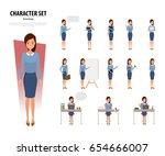 set of business woman character ...   Shutterstock .eps vector #654666007