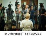 press conference. public... | Shutterstock . vector #654669283