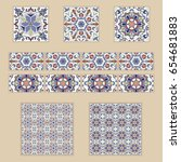 vector set of portuguese tiles... | Shutterstock .eps vector #654681883