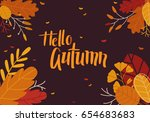autumn background with leaves | Shutterstock .eps vector #654683683