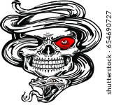 red eye skull with snake going... | Shutterstock .eps vector #654690727