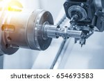 the cnc lathe machine or... | Shutterstock . vector #654693583