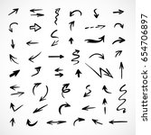 hand drawn arrows  vector set | Shutterstock .eps vector #654706897