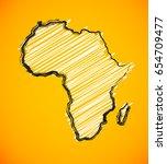 sketch african continent | Shutterstock . vector #654709477