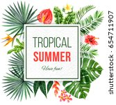 watercolor tropical background... | Shutterstock . vector #654711907