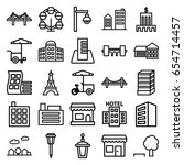 city icons set. set of 25 city... | Shutterstock .eps vector #654714457