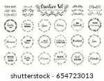 floral wreath set. hand drawn... | Shutterstock .eps vector #654723013