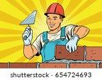 builder brickwork. construction ... | Shutterstock .eps vector #654724693