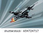 futuristic outer space battle...   Shutterstock .eps vector #654724717