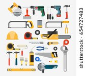 vector set of tools for repair... | Shutterstock .eps vector #654727483
