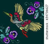 embroidered crane on a... | Shutterstock .eps vector #654736627