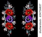 embroidery of poppies and... | Shutterstock .eps vector #654736837