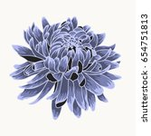 Blue Chrysanthemum. Colored An...