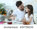 family. father with daughter at ... | Shutterstock . vector #654758233