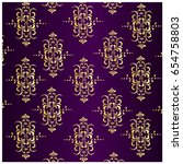 gold and purple abstract damask ... | Shutterstock . vector #654758803