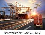 logistics import export... | Shutterstock . vector #654761617
