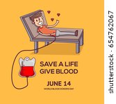 world blood donor day. a person ... | Shutterstock .eps vector #654762067