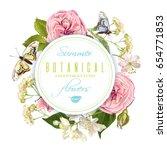 vector botanical round banner... | Shutterstock .eps vector #654771853
