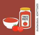 tomato paste  in bottle and in... | Shutterstock .eps vector #654772603