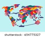 vector graphics world map...   Shutterstock .eps vector #654775327