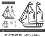 sailing boat vector line icon... | Shutterstock .eps vector #654783313