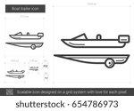 Boat Trailer Vector Line Icon...